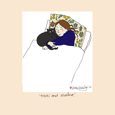 Cat Portraits. Illustrated Cat and Person